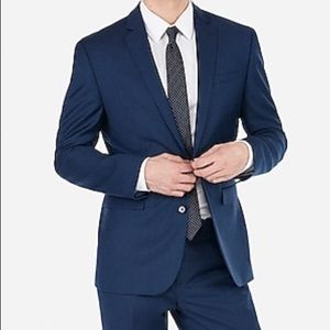 Express men's photographer fitted navy blazer 4282